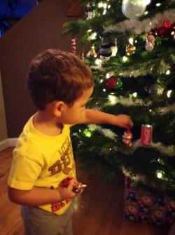 LittleMan decorating Christmas Tree 2013