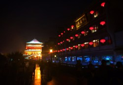 Bell Tower at Muslim Quarter in Xian at night 3