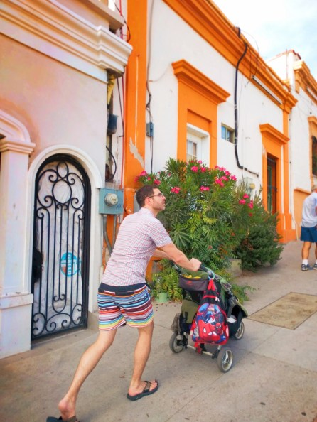 Chris Taylor pushing stroller in La Paz BCS Mexico 1