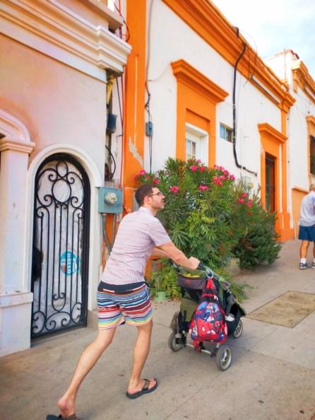 Chris Taylor pushing stroller in La Paz BCS Mexico 1