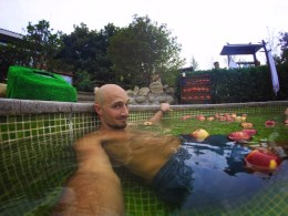 Rob Taylor in apple bath at Taibai Mountain Hot Springs Resort Baoji 1