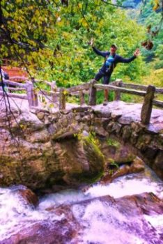 Rob Taylor on Footbridge at Taibai Mountain National Park Shaanxi 1