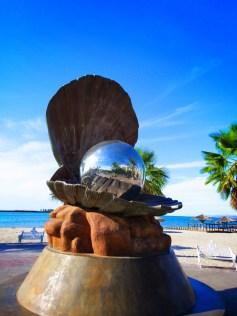 Shiny pearl statue La Paz Mexico