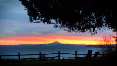 Sunrise with Mt Baker over Straight of Juan de Fuca from Domaine Madeleine 1