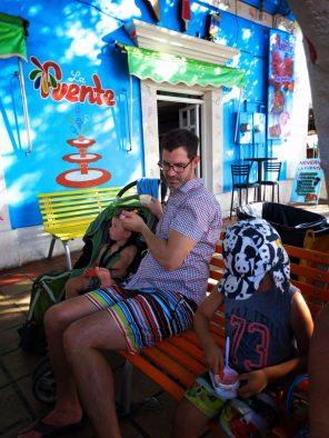 Taylor Family having ice cream on the Malecon in La Paz Baja California Sur 1