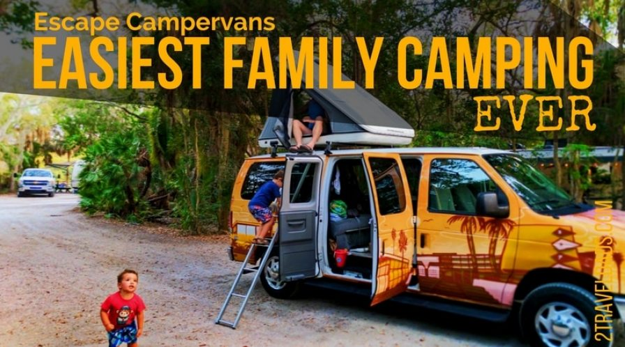 An Escape Campervan was the most fun, easiest way we could've gone camping across the country. Fully equipped with stove, beds, fridge and more. Family camping made easy. 2traveldads.com
