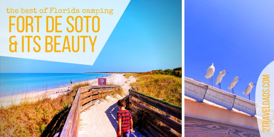 The best camping in Florida is for sure Fort De Soto County Park in St Pete Beach. With beaches, bunkers and wildlife galore, camping in a palm jungle on a Florida island is amazing family travel. 2traveldads.com