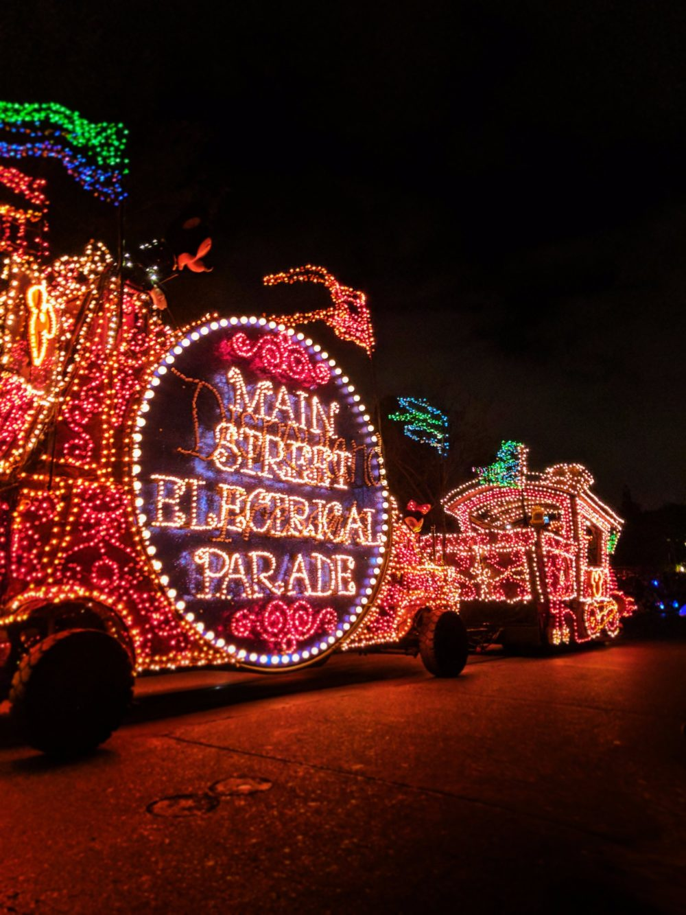 Mickey Mouse float Main Street Electrical Parade Disneyland at night 2