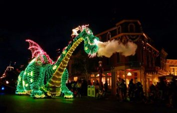 Petes Dragon float Main Street Electrical Parade Disneyland at night 1