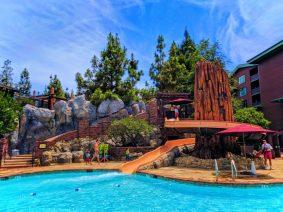 Taylor Family at waterslide pool at Disneys Grand Californian Hotel Disneyland 2