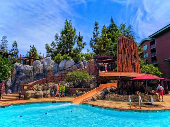 Taylor Family at waterslide pool at Disneys Grand Californian Hotel Disneyland 2