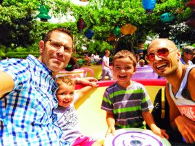 Taylor Family sitting in Teacups in Fantasyland Disneyland 5
