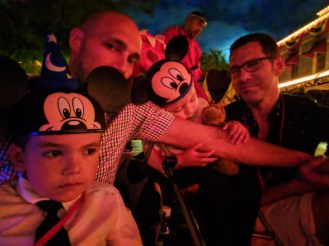 Taylor Family waiting for the Main Street Electrical Parade Disneyland at night 1