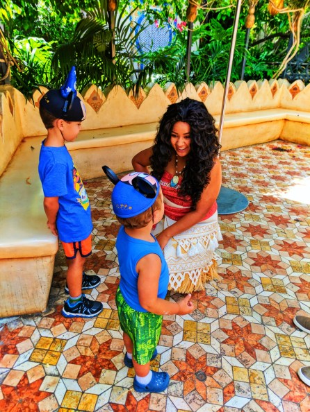 Taylor Kids meeting Moana in Adventureland Disneyland 5
