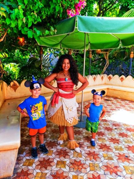 Taylor Kids meeting Moana in Adventureland Disneyland 6