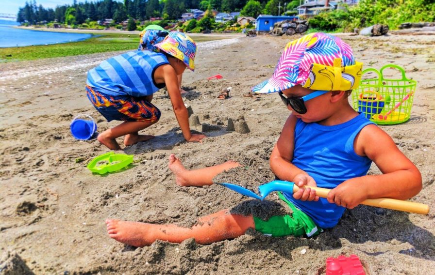 Taylor Family at Beach Wearing Little Hotdog Watson hats in Suquamish 1