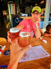 Taylor Family dining in Lone Girl Brewing Co Waunakee Wisconsin 3