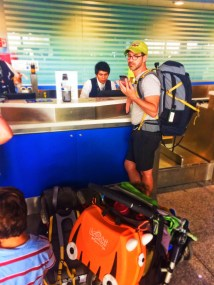 Taylor Family with REI and Trunki luggage at airport 1