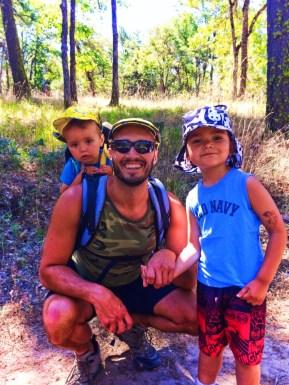 Taylor family hiking off Centerville Highway wearing Little Hotdog Watson Hats 1