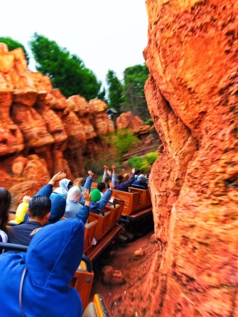 Train on Thunder Mountain Railroad signs Frontierland Disneyland 2