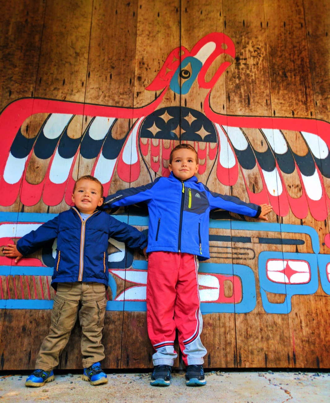 Taylor Family with eagle totem Kalaloch Campground amphitheater Olympic National Park 1