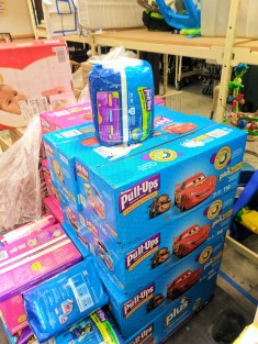 Boxes of Pullups at WestSide Baby National Diaper Bank Network Huggies 2