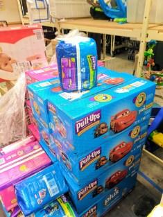 Boxes of Pullups at WestSide Baby National Diaper Bank Network Huggies 2