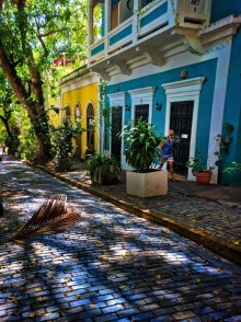 Rob Taylor with Colorful Buildings and cobblestone street in Old San Juan Puerto Rico 1