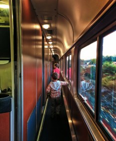 Taylor Family Inside Amtrak Empire Builder Sleeping Car at King Street Station Seattle 1