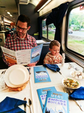 Taylor Family dining on Amtrak Empire Builder 1