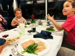 Taylor Family dining on Amtrak Empire Builder 4