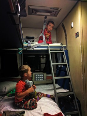 Taylor Family in bunk beds sleeping cab Amtrak Empire Builder 4