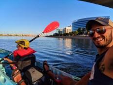 Taylor Family at Tempe Town Lake Kayaking under bridges 9