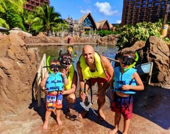 Taylor Family snorkeling Rainbow Reef at Disney Aulani Oahu 1