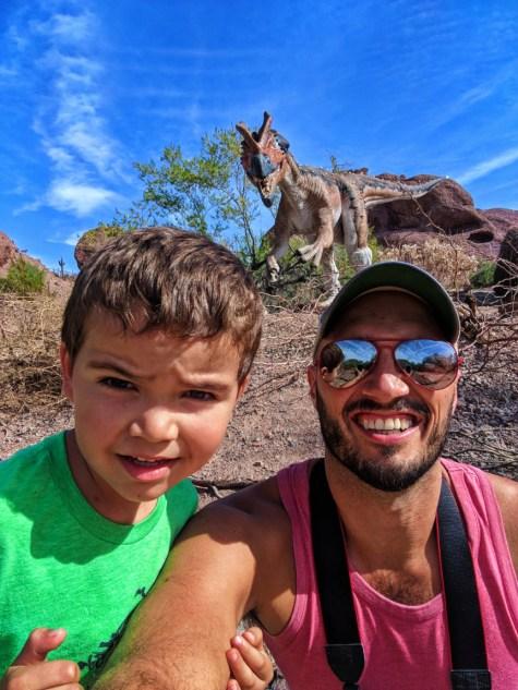 Taylor family with Dinosaur exhibit Phoenix Zoo Tempe 3