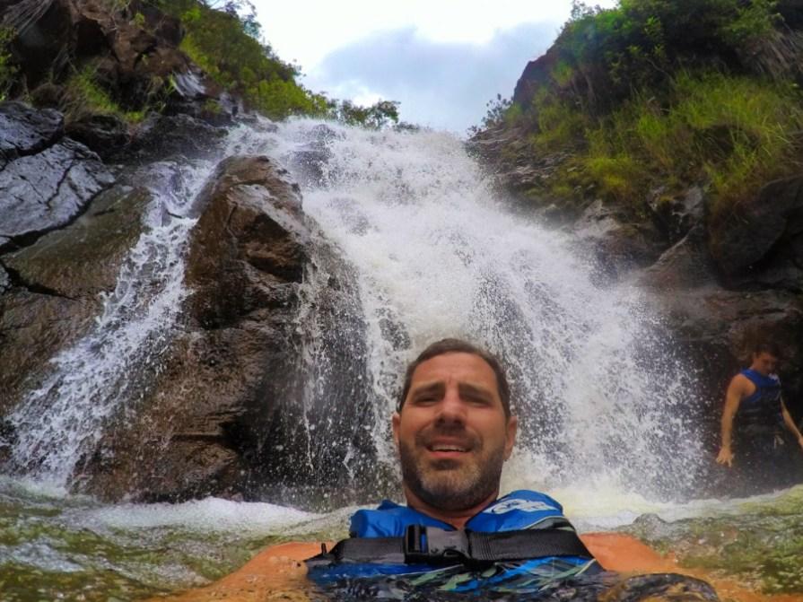 Taylor Family in waterfalls at Waimea Valley North Shore Oahu 12