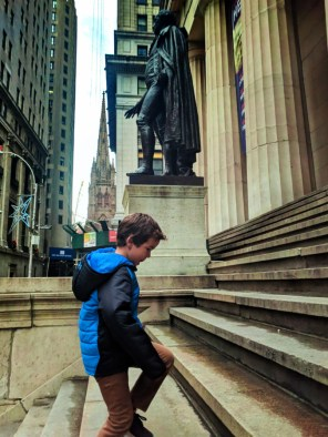 Taylor family at Federal Hall National Monument Wall Street Lower Manhattan NYC 2