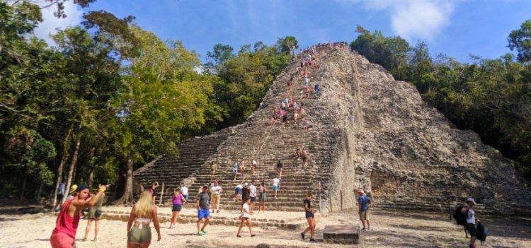 Climbing Nohoch Mul the Great pyramid at the Coba Mayan Ruins Yucatan 2
