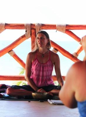 Jo Matson leading yoga retreat session Isla Holbox Yucatan 4