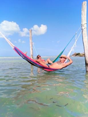 Rob Taylor relaxing in hammock on Sandbar Villas Flamingos Isla Holbox Yucatan 1