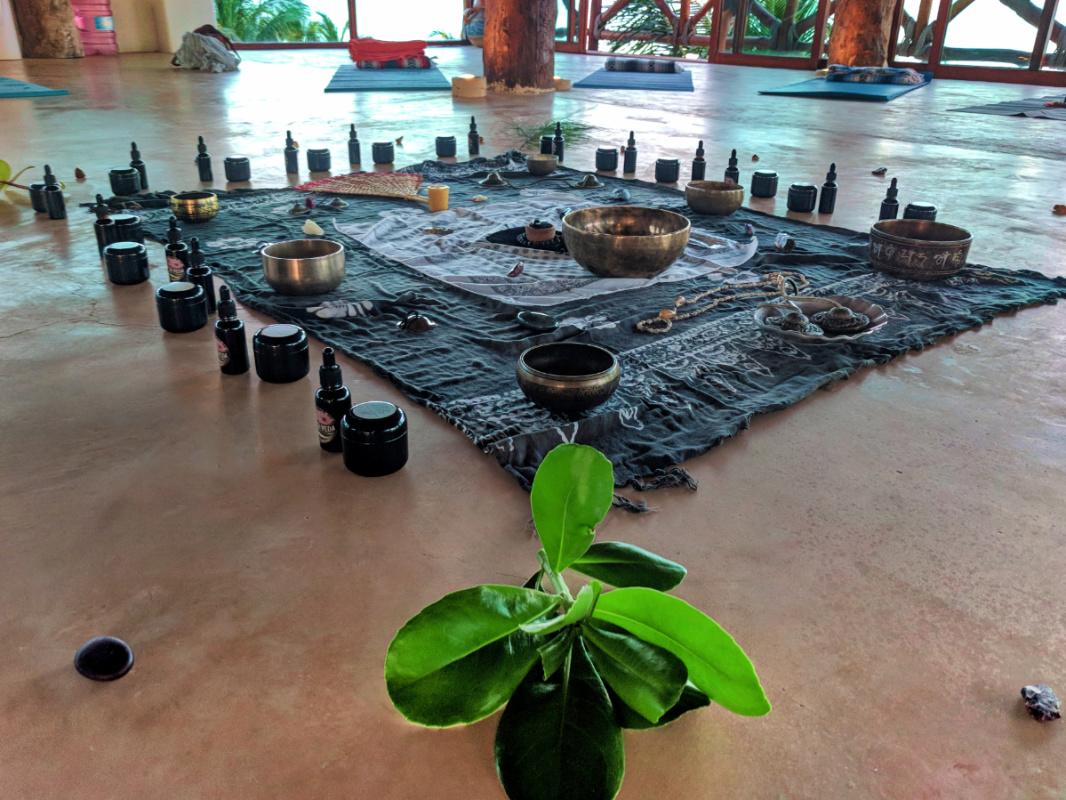 Yoga Session set up at Villa Flamingos Yoga Retreat Isla Holbox Yucatan 4