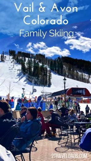 Family skiing in Vail Colorado pin