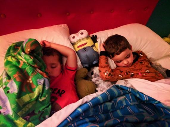 Taylor Family sleeping in Beachside Tower Cabana Bay Resort Universal Orlando 7