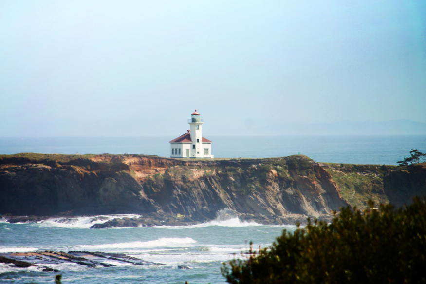 Cape Arago Lighthouse from Viewpoint Sunset Bay State Park Coos Bay Oregon Coast 3