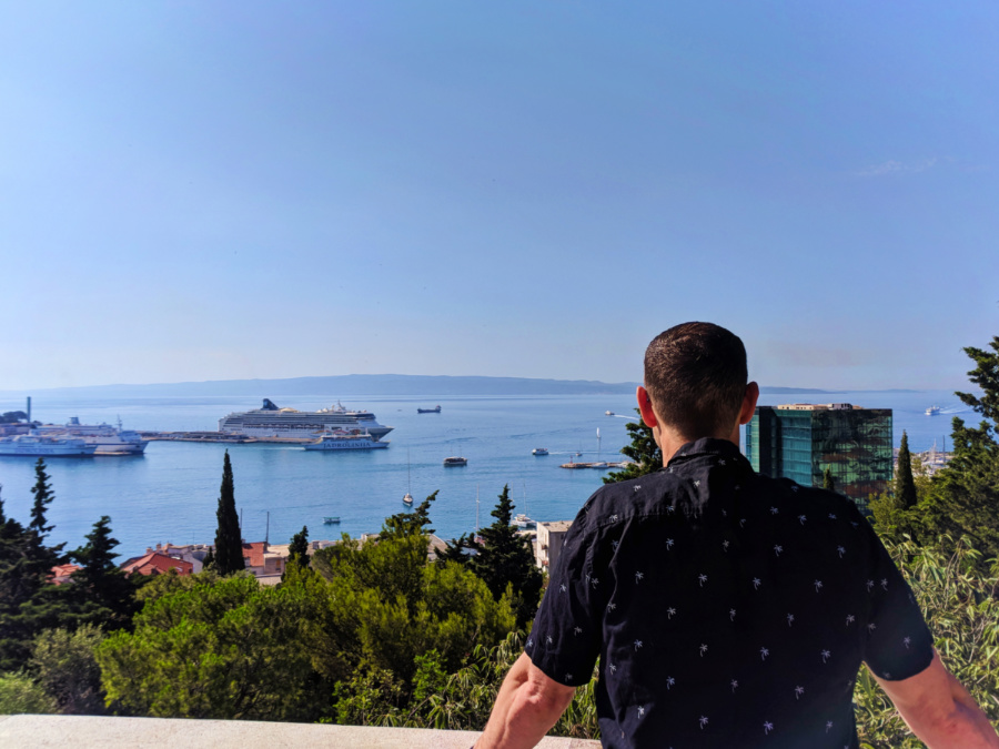 Chris Taylor with view of Adriatic from above Old Town Split Croatia 1