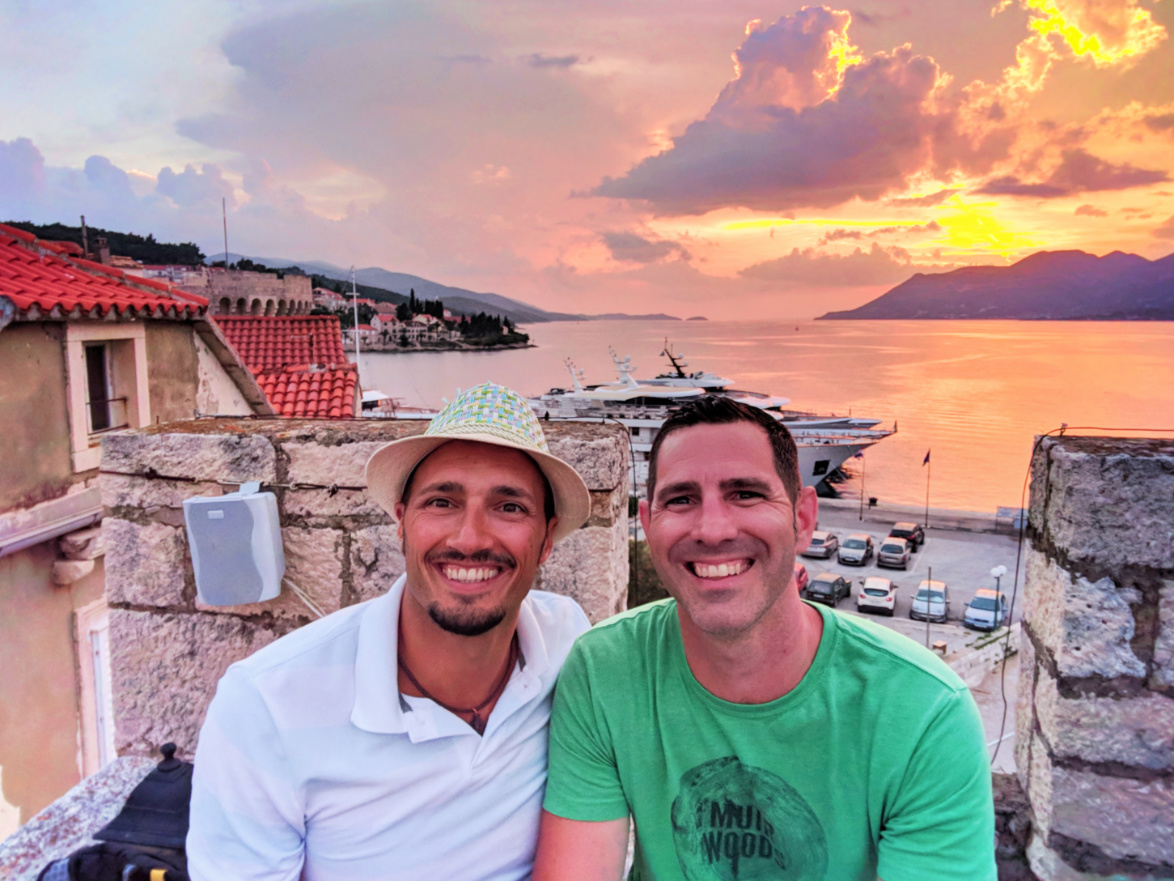 Chris and Rob Taylor at sunset from turret in Old Town Korcula Croatia 1