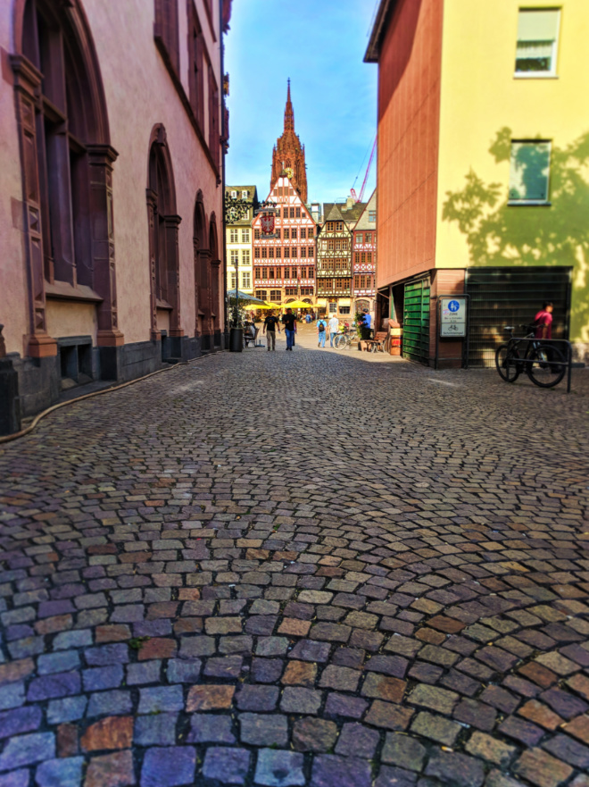 Colorful buildings in Romerberg Town Square Old Town Frankfurt Germany 3