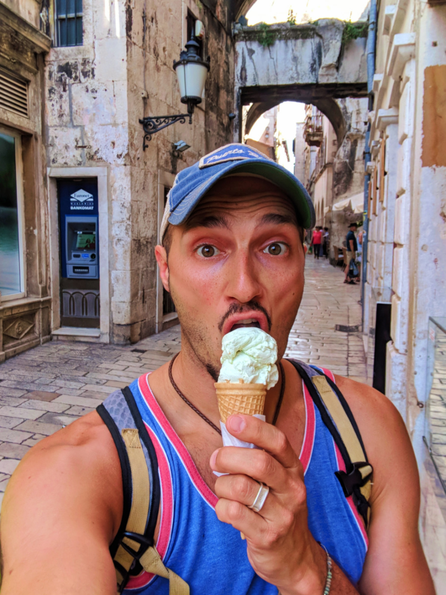 Rob Taylor eating Gelato in Old Town Split Croatia 1