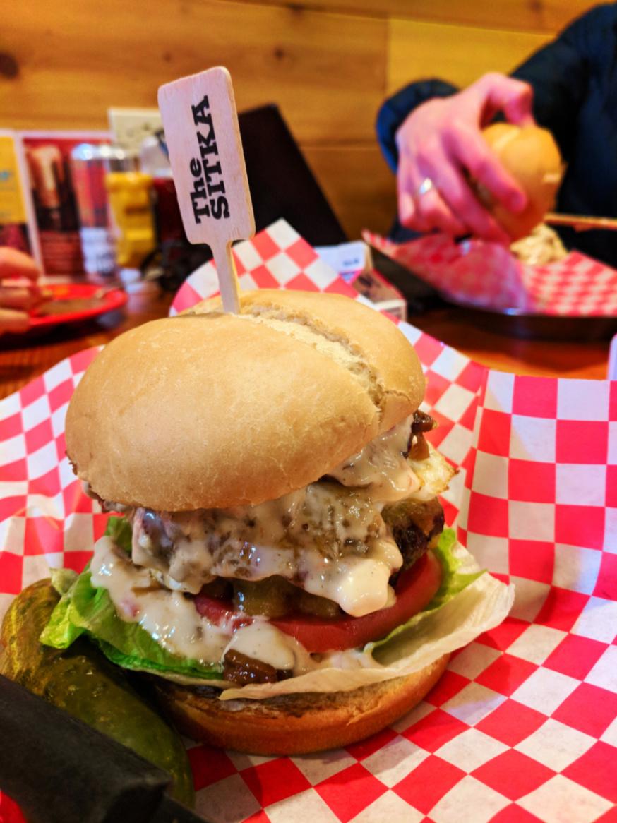 Sitka Burger at Public Coast Brewing Cannon Beach Oregon Coast 1