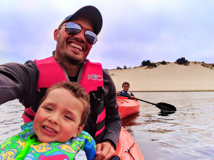 Taylor Family kayaking at Honeyman State Park Sand Dunes Florence Oregon Coast 2